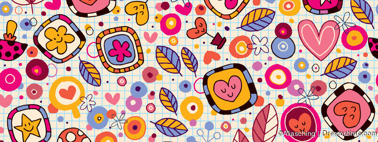 Hearts & flowers nature pattern