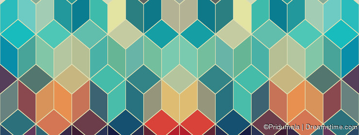 Hipster geometric background made of cubes.Retro hipster color m