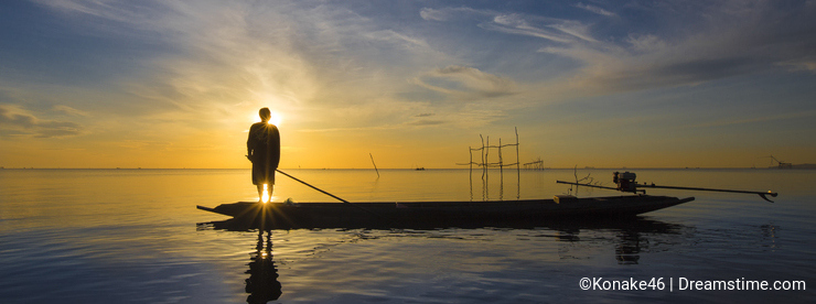 Fisherman with beautiful sunrise