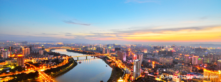 There is a red sunset over Nanning,Guangxi