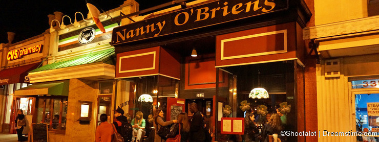 Irish Pub at Night on Saint Patrick's Day