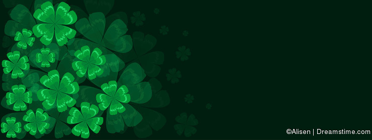 Background with green four-leaf clover St. Patrick