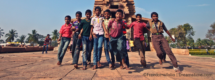 Young students having fun during excursion
