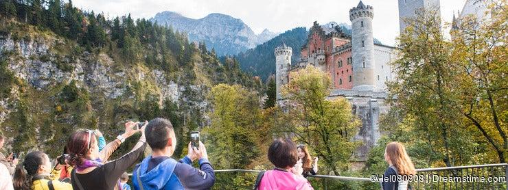 Tourists Neuschwanstein Castle