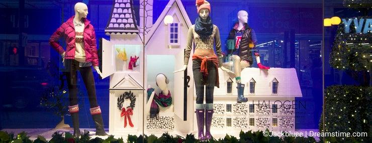 Fashion store window christmas lights