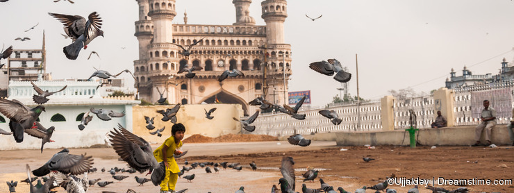 Charminar and Pigeons