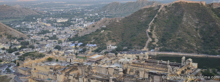 Majestic Amer fort in rajasthan, picture taken from terrace of other adjoining Jaigarh fort