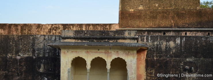 Fragment of Jaigarh Fort in Jaipur India with sunset colors
