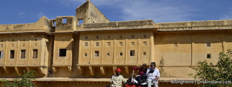 JAIPUR, INDIA - Tourists on Elephant ride in Amber Fort