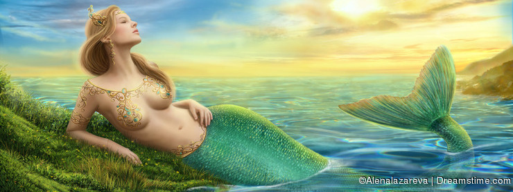 Beautiful princess- fantasy mermaid at sunset background