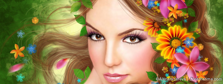 Fantasy Beautiful fairy woman with summer flowers. nature. fashion portrait