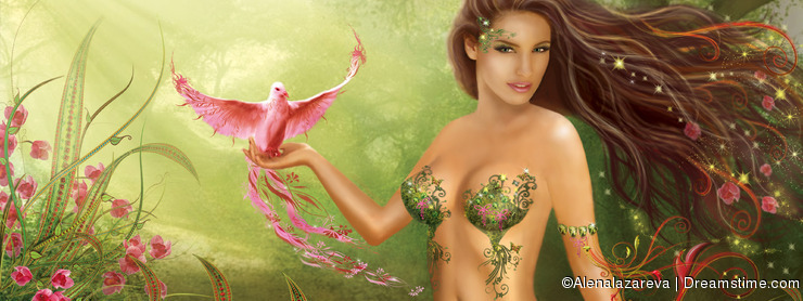 Fantasy woman fairy and Paradise bird on background nature