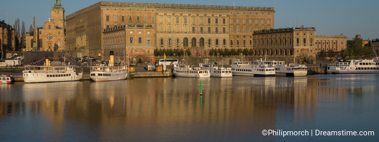 View of Royal Stockholm Palace, Sweden with the Great Church