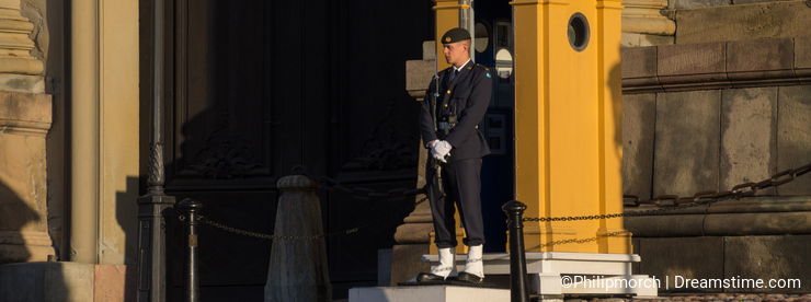 Guard with guardhouse at Stockholm Palace, Stockholm, Sweden