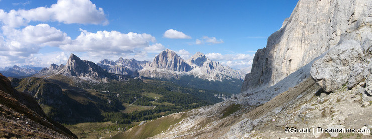 View to Passo Giau from Forcella Giau