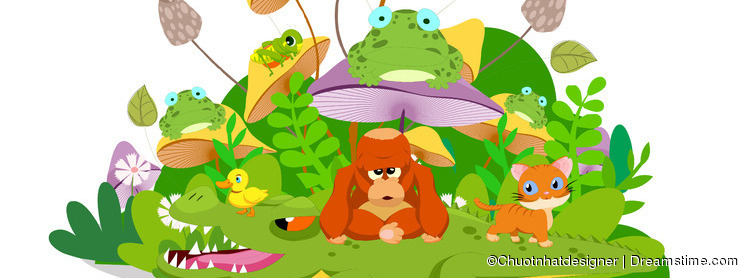 Funny animals stay together in the mushroom