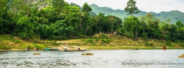 Boats for transporting tourists to Phong Nha cave, Phong Nha - Ke Bang national park, Viet Nam