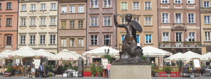 Little mermaid statue in Warsaw, Poland