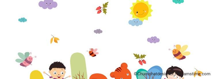 Goodbye summer. enjoy autumn happy smiling girls and boys ground round background