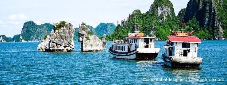 Halong Bay, Vietnam. Unesco World Heritage Site. Most popular place in Vietnam