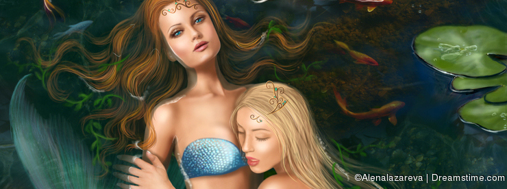 Beautiful fantasy princess mermaids in lake with lilies underwater background