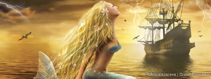 beautiful Fantasy Sea Mermaid with Ship at Sunset background