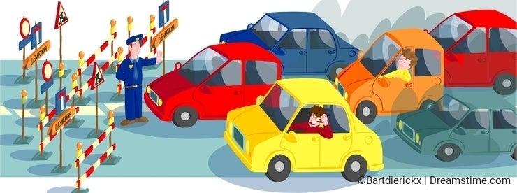 Cars in road block