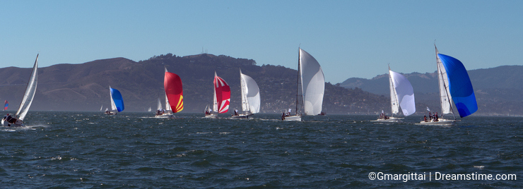 Sailboats with spinnakers at Rolex Cup