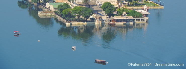 Aerial view of Hotel Lake Palace