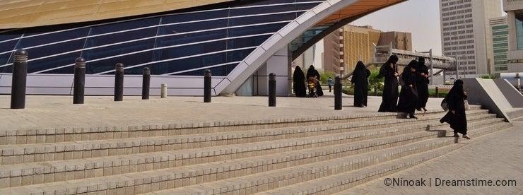 Deira Metro station women in abaya