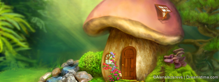 Fantasy mushroom cottage house on a colorful meadow