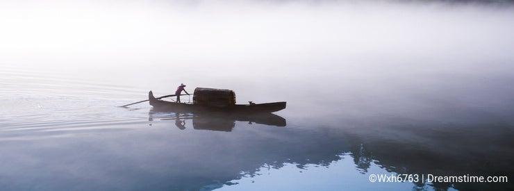Fishing-boat on the Dongjiang Lake