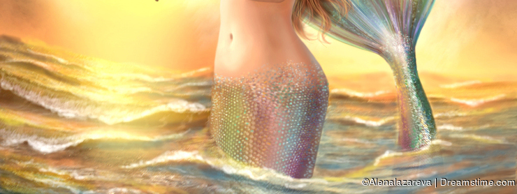 Beautiful woman fantasy mermaid plays on violin on sunset