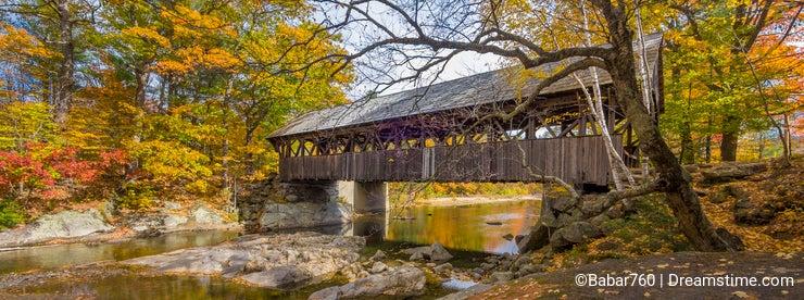 Old wood covered bridge