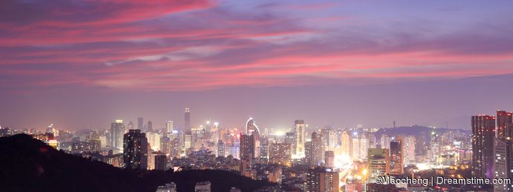 Magnificent sunset glow over xiamen city