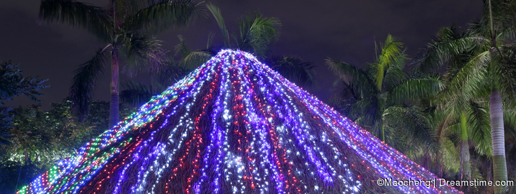 Led light thatched house