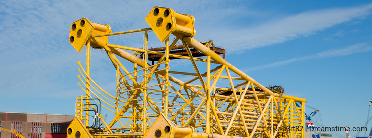 Steel jacket ready to be shipped in port of Rotterdam