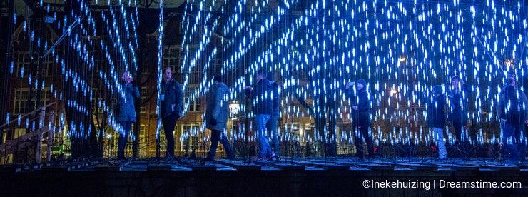 Night scene of the Amsterdam Light Festival