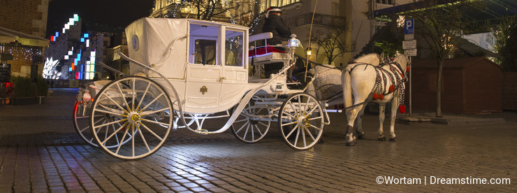White carriage in the city