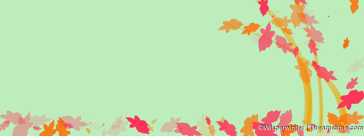 Light green wallpaper with colorful leaves