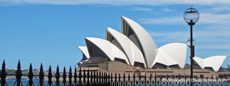 The Sydney Opera House as seen from Beneath the Harbour Bridge