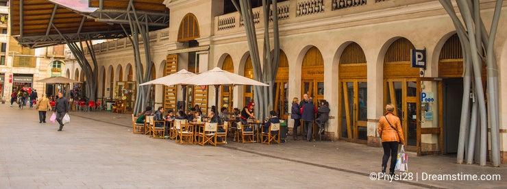 Front fasade of Santa Caterina market in Barcelona