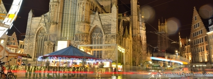 Traditional churches and buildings on a rainy night, winter festival scene
