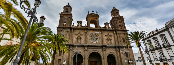 Cathedral of Santa Ana (Holy Cathedral-Basilica of the Canaries) in Las Palmas, view from the main square of Vegueta