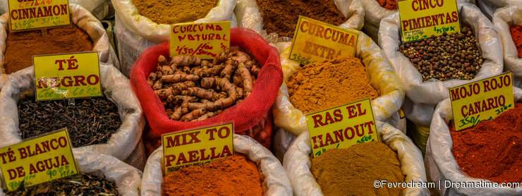 Selection of traditional spices on a market