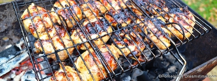 Food photography Barbecue so appetizing pieces of meat
