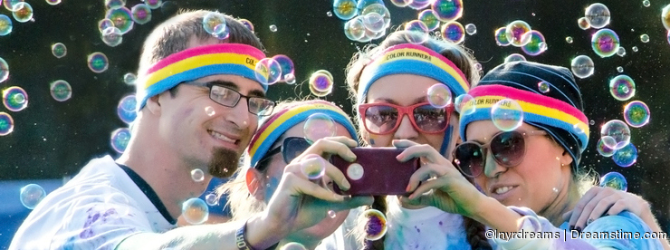 Colorful group selfie