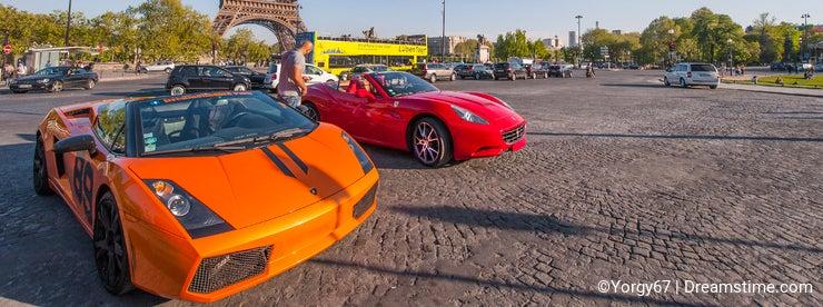 Luxurious Cars near the Eiffel Tower