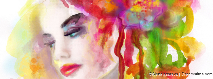 Spring woman. Abstract portrait beautiful watercolor, hand painted drawing