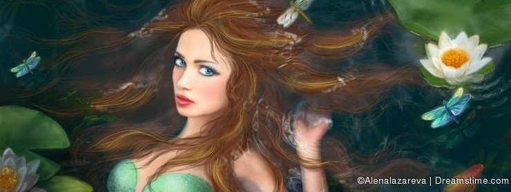 Beautiful Fantasy mermaid in lake with lilies
